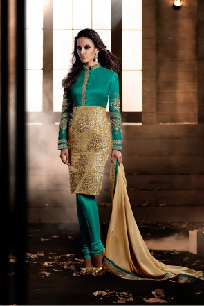 Green and Beige Bhagalpuri Silk  churidar suit