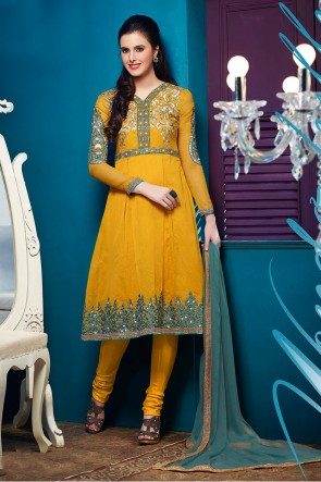 Yellow Chanderi Churidar suit