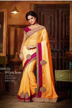 Yellow Pink super net saree