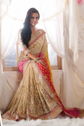 Beige Viscose Net Saree
