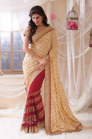 Beige red half n half saree