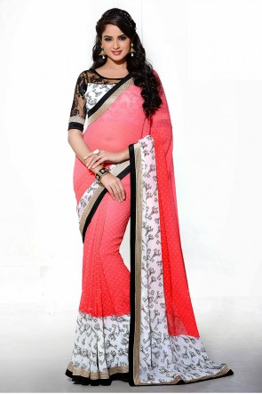 Pink and Red Saree