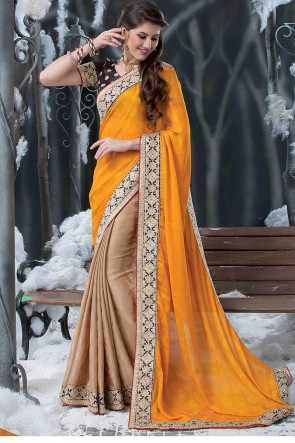 Yellow beige half and half saree