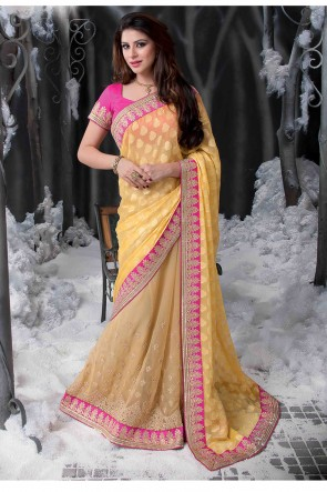 Yellow pink saree