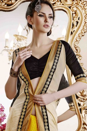 Beige and Yellow Jacquard Saree