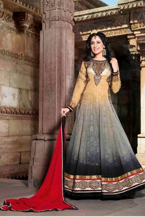Beige Grey Ankle Length Anarkali