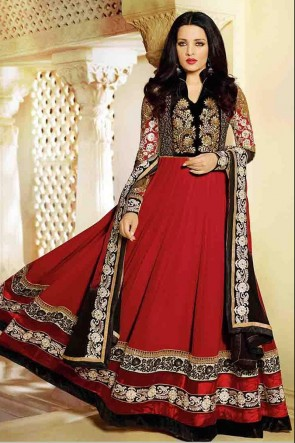 Red Ankle Length Anarkali Suit