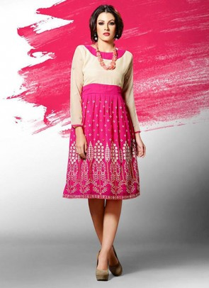 Pink Kurti  Embroidered