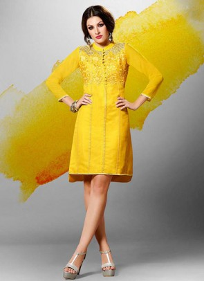 Yellow Kurti  Embroidered