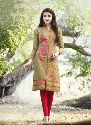 Brown Kurti Embroidered