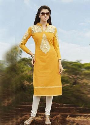 Yellow Kurti Embroidered