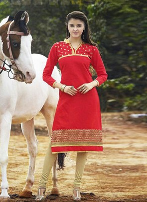 Red Kurti Embroidered