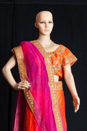 Bangaluri silk embroidered lehenga with dupatta LEHENGA-KOREAN CRAPE INNER-SANTOON DUPATTA-NETT BLOUSE-BANGLORI SILK